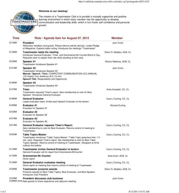Agenda Sample - Confident Communicators Club,Michigan,Usa