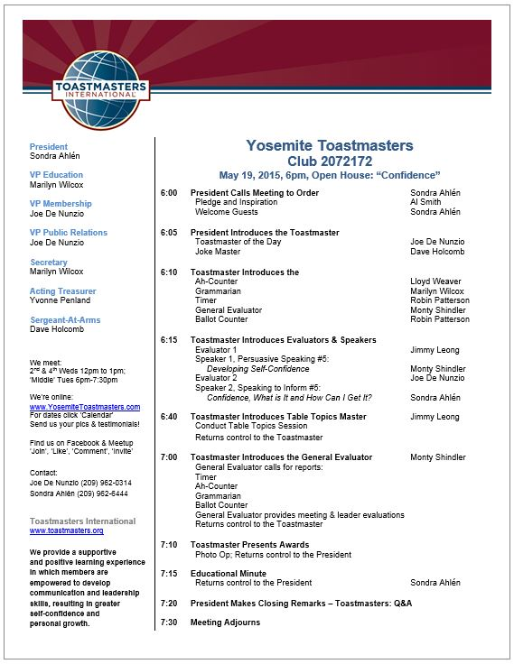 Meeting Agenda Sample - Yosemite Toastmasters